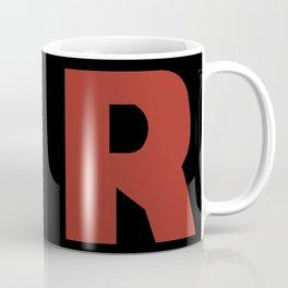 Letter R on Black Coffee Mug