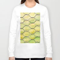 the wire Long Sleeve T-shirts featuring Chicken Wire by Dawn Patel Art