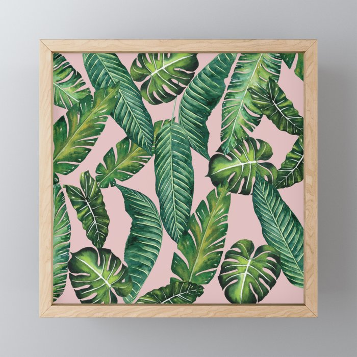 Jungle Leaves, Banana, Monstera II Pink #society6 Framed Mini Art Print