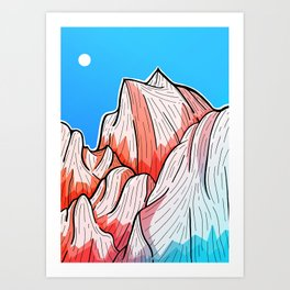 The red and blue tipped mountains Art Print