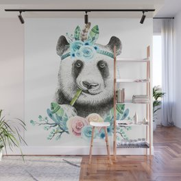 Watercolor Floral Spray Boho Panda Wall Mural