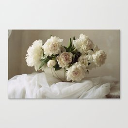 Garden peonies for Justine - wedding bouquet photography Canvas Print