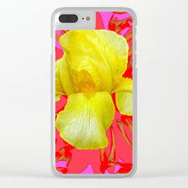 YELLOW IRIS MODERN ART RED FLORAL ABSTRACT Clear iPhone Case