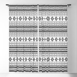 Aztec Black on White Mixed Motifs Pattern Blackout Curtain