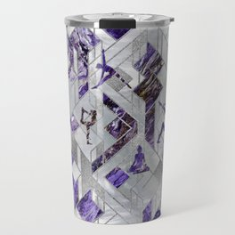 Yoga Asanas in Amethyst on geometric pattern Travel Mug