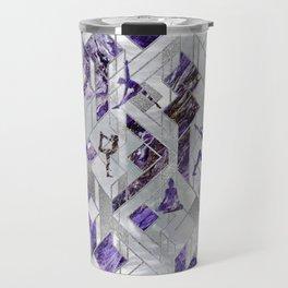 Yoga Asanas in Amethyst on geometric pattern Travel Mug