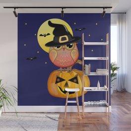 Haloween owl, pumpkin and bats illustration Wall Mural