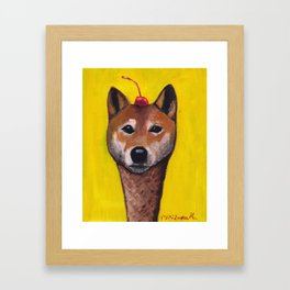 """Cherry on Pup"" Shiba Inu Framed Art Print"