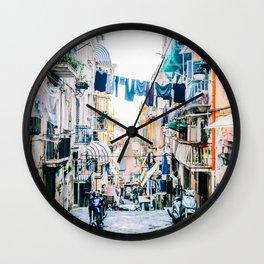 Joy of Laundry Day in Naples, Italy Wall Clock