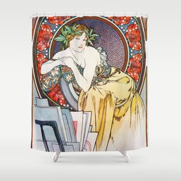 "Alphonse Mucha ""Girl With Easel"" Shower Curtain"