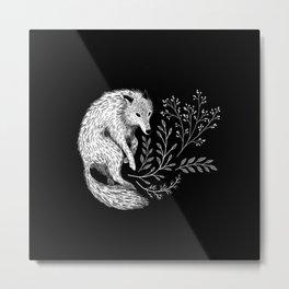 Botanical Wolf Metal Print
