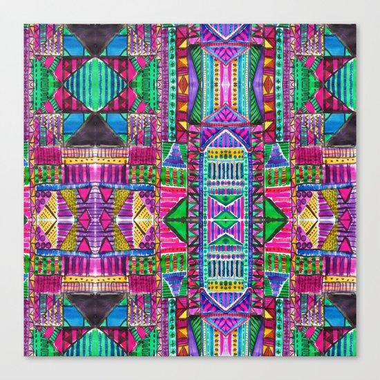 Tribal Patchwork Pink Canvas Print