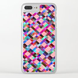 geometric pixel square pattern abstract background in pink purple blue yellow green Clear iPhone Case