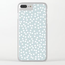 Silvery Blue and White Polka Dot Pattern Clear iPhone Case