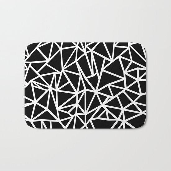 Abstract Outline Thick White on Black Bath Mat