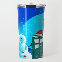 Tardis With Snow Ball Gift Christmas Travel Mug