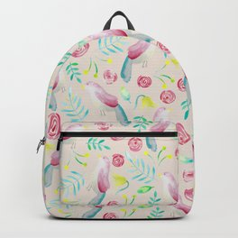 Watercolor Birds and Spring Flowers Backpack