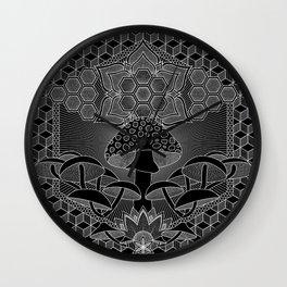 Mushroom Mandala I Wall Clock