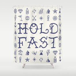 Uncle Knuckles - Hold Fast - Navy on Off White Shower Curtain