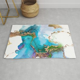 Abstract Marble Mermaid Gemstone With Gold Glitter Rug