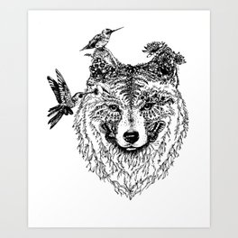 Wolf and Hummingbirds Art Print