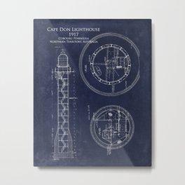 Cape Don Lighthouse Blueprint Metal Print