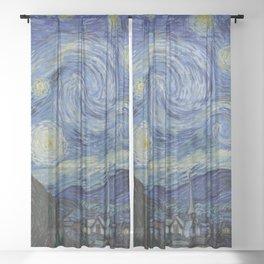 """""""Stary Night"""" Van Gogh Sheer Curtain"""