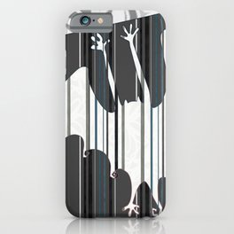 Striped Bat Tile (white, black, gray, and silver-gray) iPhone Case