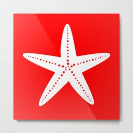 Starfish (White & Red) Metal Print