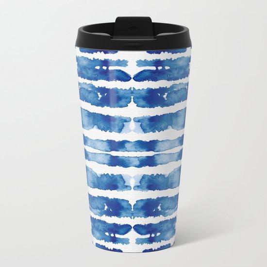 Shibori Vivid Indigo Blue and White Metal Travel Mug