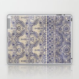 Vintage Wallpaper - hand drawn patterns in navy blue & cream Laptop & iPad Skin