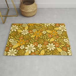 1970s Retro Flowers Pattern in Yellow, Orange & Olive Green Rug