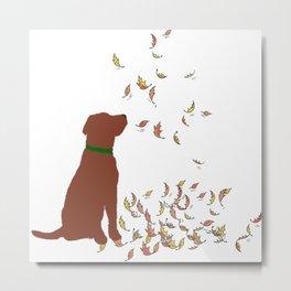 Brown Dog in Fall Leaves Metal Print