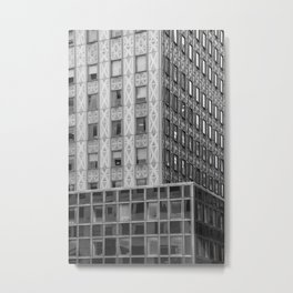 Geometric New York Architecture in Black and White Metal Print