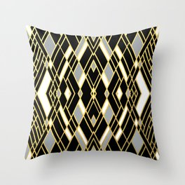 Art Deco Grey Gold Throw Pillow