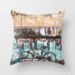 Graffiti and Abandoned Bike Under the Stone Arch Bridge Throw Pillow