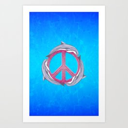 Dolphin Peace Pink Art Print