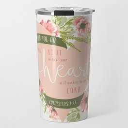 """All Your Heart"" Floral Bible Verse Print Travel Mug"