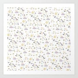Vintage elegant gold purple rustic floral pattern Art Print