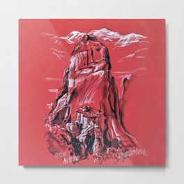 Meteora Rock Formation and Monastery in Greece Metal Print