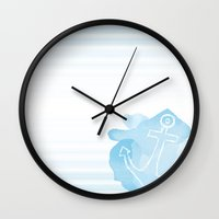 nautical Wall Clocks featuring Nautical by NicoleSclafaniGFX