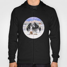 Black Appaloosa Horses In Winter Snow Hoody