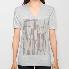Simply Bamboo Brushstroke Lunar Gray on Clay Pink Unisex V-Neck