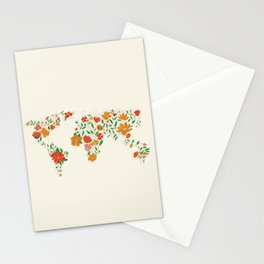 Floral World Map Stationery Cards