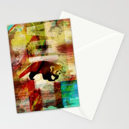 Red Panda Abstract  mixed media art collage Stationery Cards