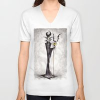 maleficent V-neck T-shirts featuring Maleficent by Jena Sinclair