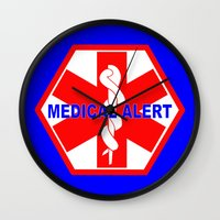 medical Wall Clocks featuring  MEDICAL ALERT IDENTIFICATION TAG by Sofia Youshi