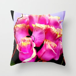 Hot Pink Rose Buds Exotic Floral Bouquet Throw Pillow
