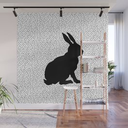 Black Silhouette Sitting Bunny Rabbit Polka Dots on White Wall Mural