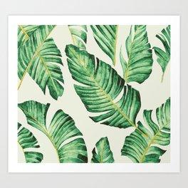Banana leaves in pastel colours Art Print
